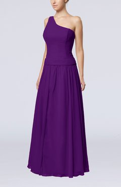 Dark Purple Elegant Sheath Zipper Chiffon Floor Length Wedding Guest Dresses
