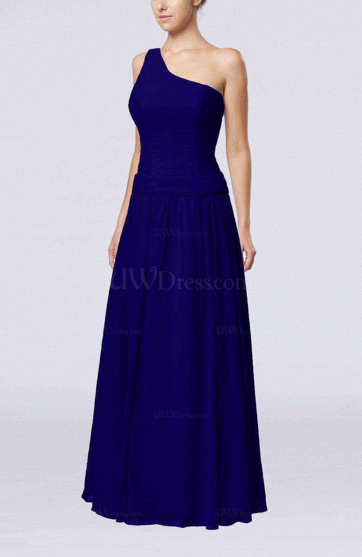 Electric Blue Wedding Guest Dresses : Electric blue elegant sheath zipper chiffon floor length wedding guest