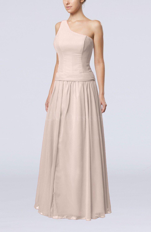 Light pink elegant sheath zipper chiffon floor length for Light pink wedding guest dress