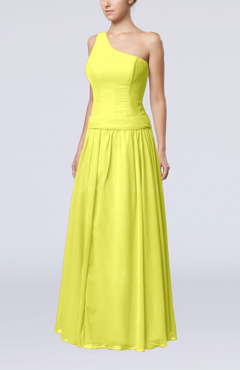 Pale yellow elegant sheath zipper chiffon floor length for Yellow dresses for wedding guests