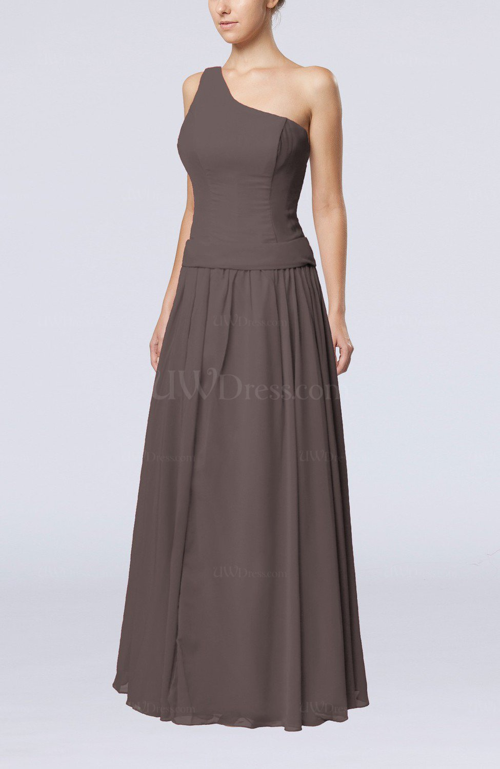 Ridge Grey Elegant Sheath Zipper Chiffon Floor Length