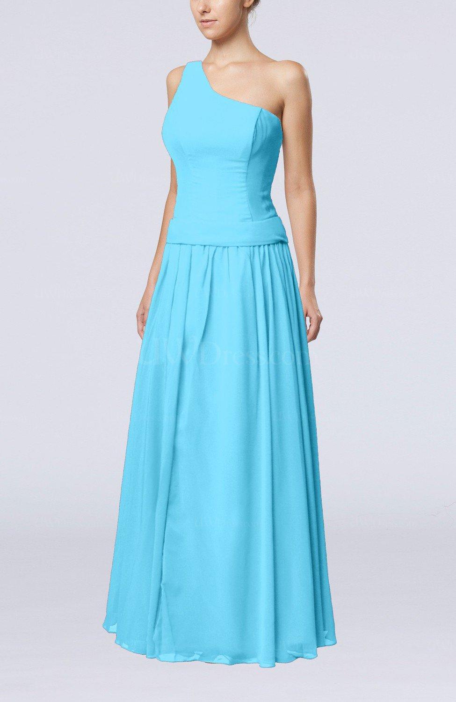 Turquoise elegant sheath zipper chiffon floor length for Turquoise wedding guest dress