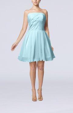 Aqua Cute Backless Chiffon Mini Ruching Homecoming Dresses