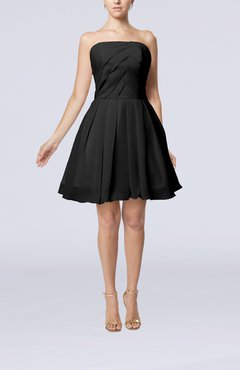 Black Cute Backless Chiffon Mini Ruching Homecoming Dresses