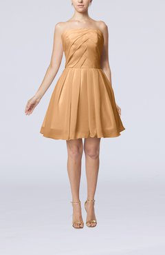 Burnt Orange Cute Backless Chiffon Mini Ruching Homecoming Dresses