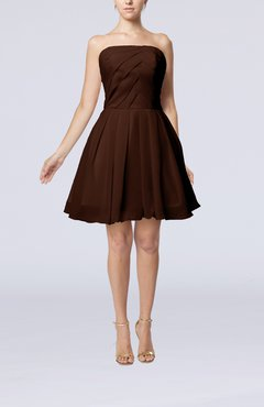 Chocolate Brown Cute Backless Chiffon Mini Ruching Homecoming Dresses