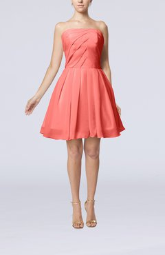 Coral Cute Backless Chiffon Mini Ruching Homecoming Dresses