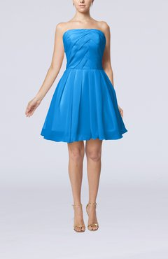 Cornflower Blue Cute Backless Chiffon Mini Ruching Homecoming Dresses