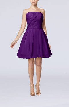 Dark Purple Cute Backless Chiffon Mini Ruching Homecoming Dresses