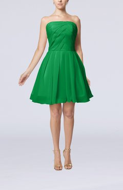 Green Cute Backless Chiffon Mini Ruching Homecoming Dresses