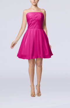 Hot Pink Cute Backless Chiffon Mini Ruching Homecoming Dresses