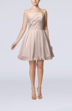 Light Pink Cute Backless Chiffon Mini Ruching Homecoming Dresses