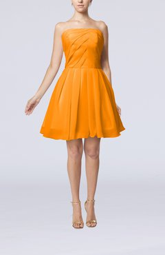 Orange Cute Backless Chiffon Mini Ruching Homecoming Dresses