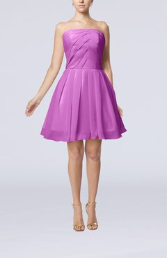 Orchid Cute Backless Chiffon Mini Ruching Homecoming Dresses