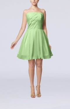 Pale Green Cute Backless Chiffon Mini Ruching Homecoming Dresses