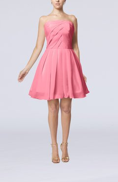 Pink Cute Backless Chiffon Mini Ruching Homecoming Dresses