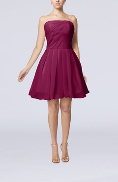Raspberry Cute Backless Chiffon Mini Ruching Homecoming Dresses