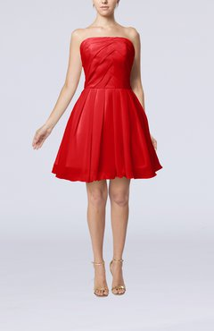 Red Cute Backless Chiffon Mini Ruching Homecoming Dresses