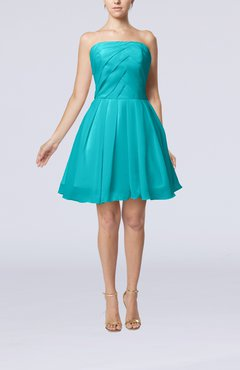Teal Cute Backless Chiffon Mini Ruching Homecoming Dresses