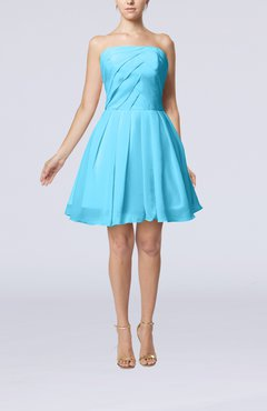Turquoise Cute Backless Chiffon Mini Ruching Homecoming Dresses