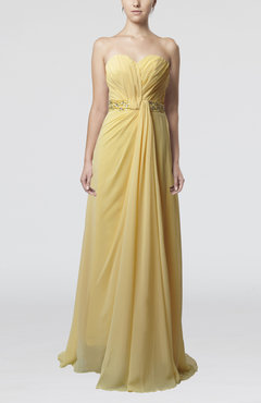 Gold Elegant Sheath Sweetheart Chiffon Sweep Train Ruching Bridesmaid Dresses