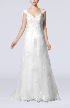 White Fairytale Outdoor A-line V-neck Zipper Organza Appliques Bridal Gowns