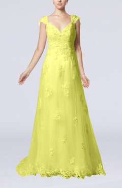 Yellow Fairytale Outdoor A-line V-neck Zipper Organza Appliques Bridal Gowns
