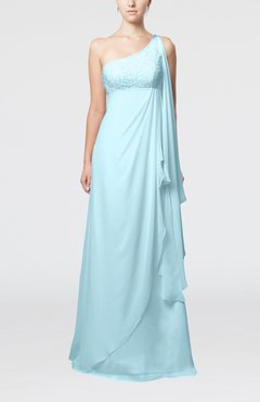 Aqua Glamorous Garden Empire One Shoulder Floor Length Beaded Bridal Gowns