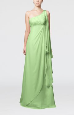 Pale Green Glamorous Garden Empire One Shoulder Floor Length Beaded Bridal Gowns