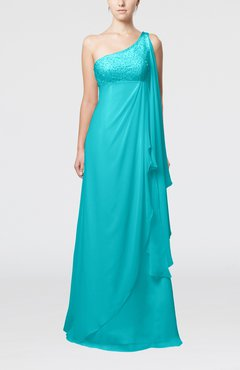 Teal Glamorous Garden Empire One Shoulder Floor Length Beaded Bridal Gowns