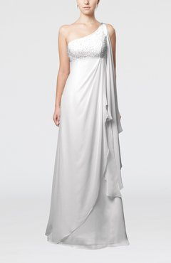 White Glamorous Garden Empire One Shoulder Floor Length Beaded Bridal Gowns