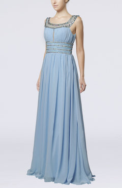 Light Blue Vintage Scoop Sleeveless Chiffon Floor Length Paillette Wedding Guest Dresses