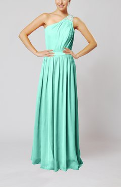Mint Green Classic Column One Shoulder Sleeveless Chiffon Pleated Prom Dresses