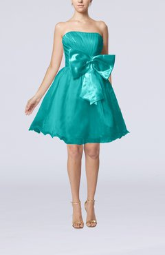 Teal Cute Destination Baby Doll Strapless Organza Short Bridal Gowns