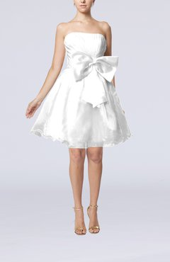 White Cute Destination Baby Doll Strapless Organza Short Bridal Gowns