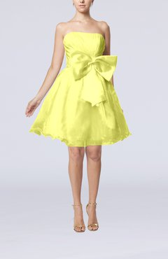 Yellow Cute Destination Baby Doll Strapless Organza Short Bridal Gowns