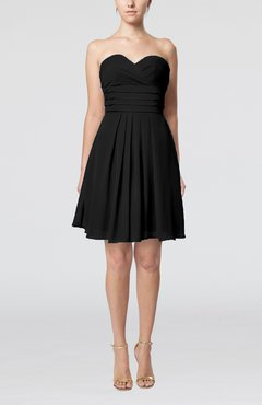 Black Simple Sleeveless Zip up Chiffon Pleated Graduation Dresses