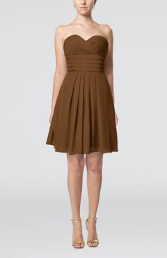 Brown Simple Sleeveless Zip up Chiffon Pleated Graduation Dresses