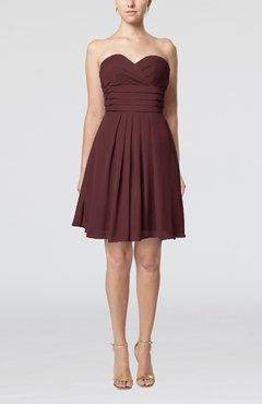 Burgundy Simple Sleeveless Zip up Chiffon Pleated Graduation Dresses