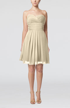 Champagne Simple Sleeveless Zip up Chiffon Pleated Graduation Dresses
