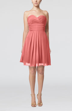 Coral Simple Sleeveless Zip up Chiffon Pleated Graduation Dresses
