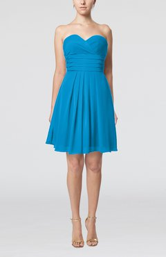 Cornflower Blue Simple Sleeveless Zip up Chiffon Pleated Graduation Dresses