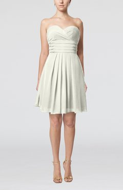 Cream Simple Sleeveless Zip up Chiffon Pleated Graduation Dresses