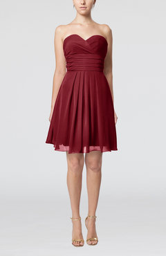 Dark Red Simple Sleeveless Zip up Chiffon Pleated Graduation Dresses