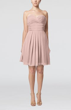 Dusty Rose Simple Sleeveless Zip up Chiffon Pleated Graduation Dresses