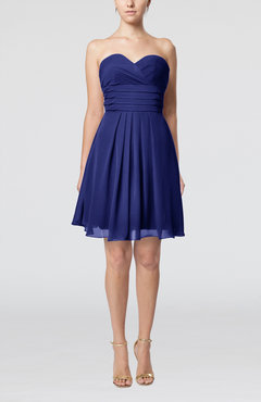 Electric Blue Simple Sleeveless Zip up Chiffon Pleated Graduation Dresses