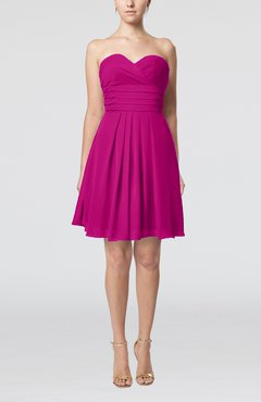 Hot Pink Simple Sleeveless Zip up Chiffon Pleated Graduation Dresses