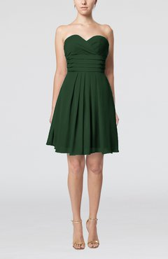Hunter Green Simple Sleeveless Zip up Chiffon Pleated Graduation Dresses