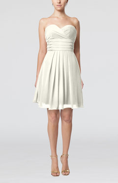 Ivory Simple Sleeveless Zip up Chiffon Pleated Graduation Dresses