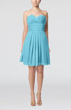 Light Blue Simple Sleeveless Zip up Chiffon Pleated Graduation Dresses
